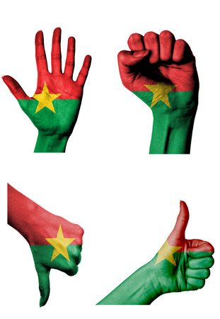 closed fist: hands with multiple gestures (open palm, closed fist, thumbs up and down) with Burkina faso flag painted isolated on white