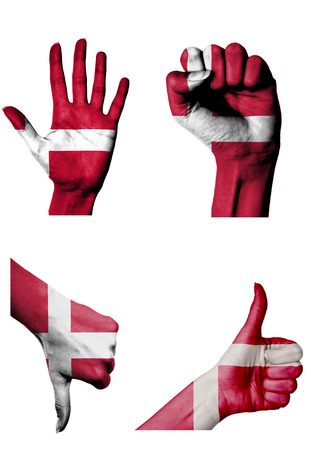 closed fist: hands with multiple gestures (open palm, closed fist, thumbs up and down) with Denmark flag painted isolated on white Stock Photo