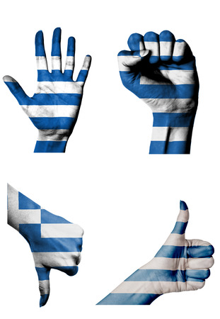 closed fist: hands with multiple gestures (open palm, closed fist, thumbs up and down) with Greece flag painted isolated on white