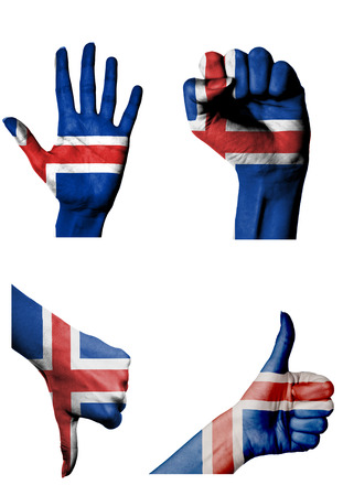 closed fist: hands with multiple gestures (open palm, closed fist, thumbs up and down) with Iceland flag painted isolated on white