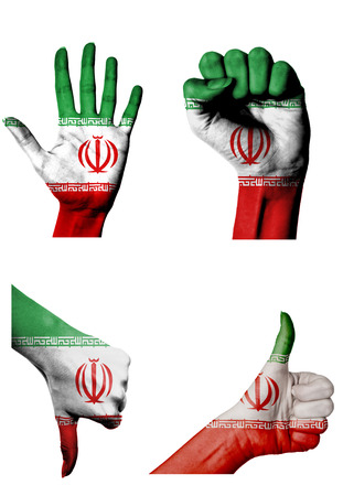 closed fist: hands with multiple gestures (open palm, closed fist, thumbs up and down) with Iran flag painted isolated on white