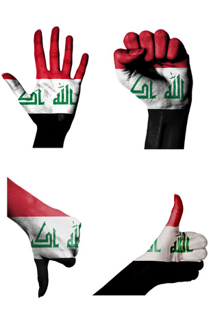 closed fist: hands with multiple gestures (open palm, closed fist, thumbs up and down) with Iraq flag painted isolated on white