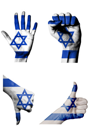 hands with multiple gestures (open palm, closed fist, thumbs up and down) with Israel flag painted isolated on white photo