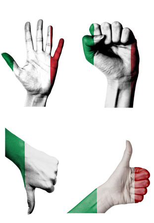 closed fist: hands with multiple gestures (open palm, closed fist, thumbs up and down) with Italy flag painted isolated on white