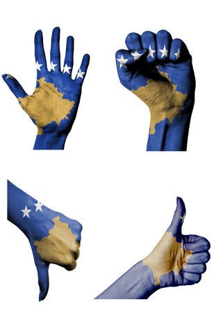 hands with multiple gestures (open palm, closed fist, thumbs up and down) with Kosovo flag painted isolated on white photo