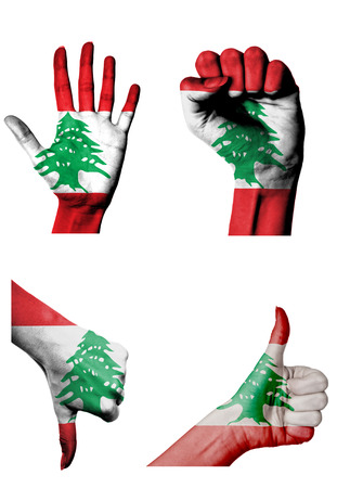 closed fist: hands with multiple gestures (open palm, closed fist, thumbs up and down) with Lebanon flag painted isolated on white