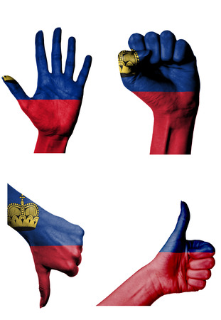 closed fist: hands with multiple gestures (open palm, closed fist, thumbs up and down) with Liechtenstein flag painted isolated on white