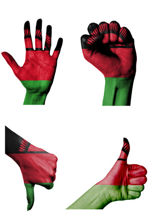 closed fist: hands with multiple gestures (open palm, closed fist, thumbs up and down) with Malawi flag painted isolated on white