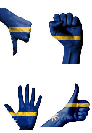 closed fist: hands with multiple gestures (open palm, closed fist, thumbs up and down) with Nauru flag painted isolated on white