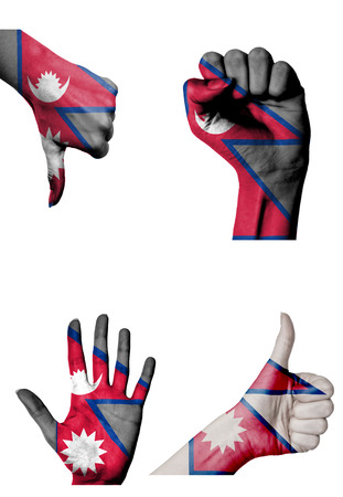 closed fist: hands with multiple gestures (open palm, closed fist, thumbs up and down) with Nepal flag painted isolated on white