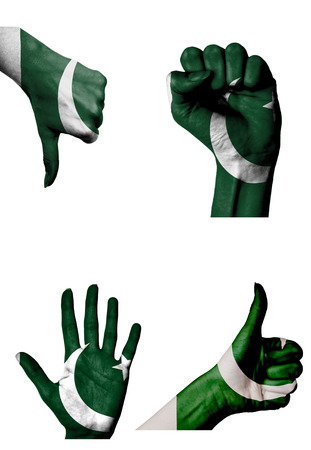 closed fist: hands with multiple gestures (open palm, closed fist, thumbs up and down) with Pakistan flag painted isolated on white