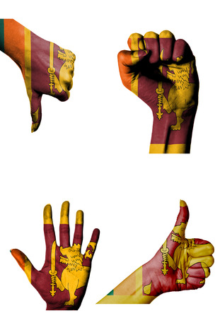 closed fist: hands with multiple gestures (open palm, closed fist, thumbs up and down) with Sri Lanka flag painted isolated on white
