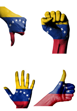 hands with multiple gestures  open palm, closed fist, thumbs up and down  with Venezuela flag painted isolated on white photo