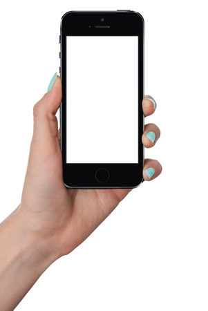isolated female hand holding smart phone with isolated screen photo