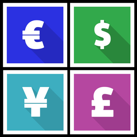 Flat modern currency icons with long shadow photo