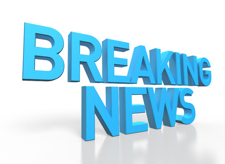 breaking news: 3d rendering of Breaking News blue glossy text on white background with shadow and reflection