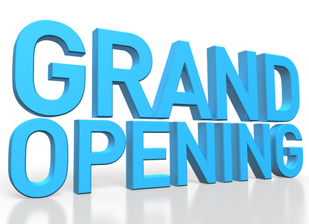 grand sale icon: 3d rendering of Grand Opening blue glossy text on white background with shadow and reflection