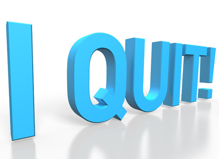 3d rendering of I quit blue glossy text on white background with shadow and reflection photo