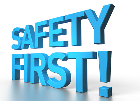 3d rendering of Safety first blue glossy text on white background with shadow and reflection photo