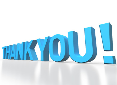 3d rendering of Thank you blue glossy text on white background with shadow and reflection photo