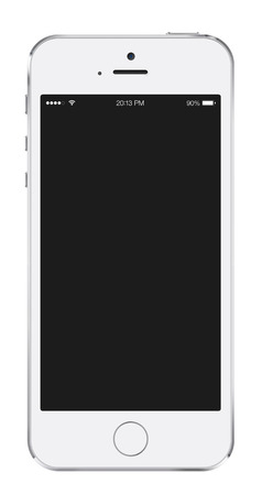 New realistic white mobile phone smartphone mockup with blank screen isolated on white background