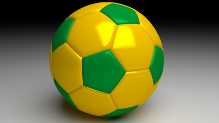 brazil soccer ball with yellow and green areas similar to the brazilian flag photo