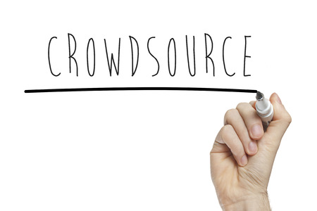 crowdsource: Hand writing crowdsource on a white board