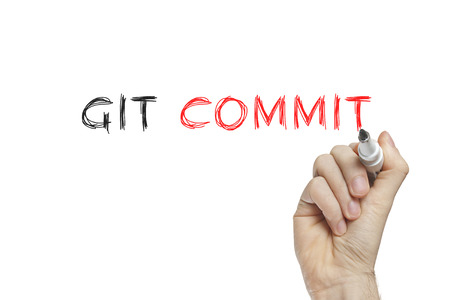 to commit: Hand writing git commit on a white board