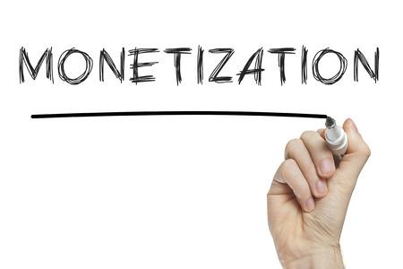 monetize: Hand writing monetization on a white board