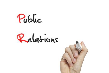 relations publiques: �criture de main de relations publiques sur un tableau blanc