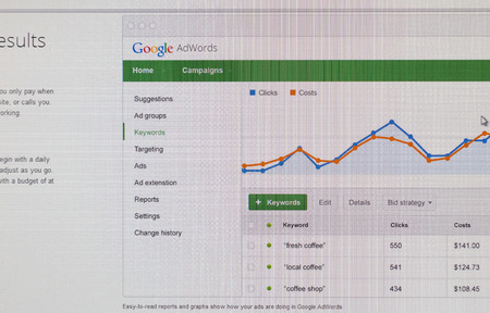 adwords: Tours, France - June17, 2014: Close up of Googles Advertising Program on a computer screen. Google AdWords is an online advertising service that places advertising and is the main source of income for Google.