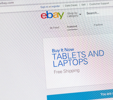 ebay: Tours, France - June 17, 2014: Close up of ebays website on a computer screen. ebay is one of the largest online auction and shopping websites in the world. Emphasis on free shipping for tablets and laptops. Editorial