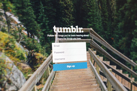 Tours, France - June 17, 2014: Photo of Tumblr webpage on a monitor screen, Tumblr is is a microblogging platform and social networking website