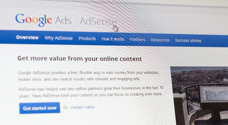 publishers: Tours, France - June17, 2014: Close up of Googles Advertising Program on a computer screen. Google AdSense is a program run by Google that allows publishers in the Google Network of content sites to serve advertisements targeted to site content and audie