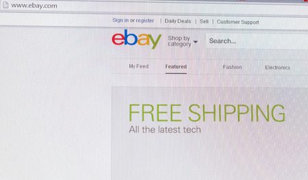 ebay: Tours, France - June 17, 2014: Close up of ebays website on a computer screen. ebay is one of the largest online auction and shopping websites in the world. Emphasis on free shipping for the latest tech. Editorial
