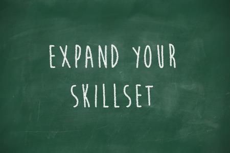 skillset: Expand your skillset handwritten on school blackboard