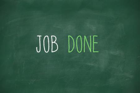 Job done handwritten on school blackboard photo