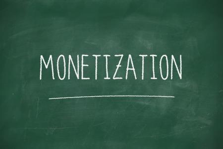 monetizing: Monetization handwritten on school blackboard