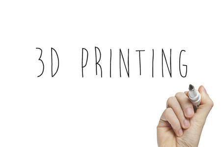 rapid prototyping: Hand writing 3d printing on a white board Stock Photo