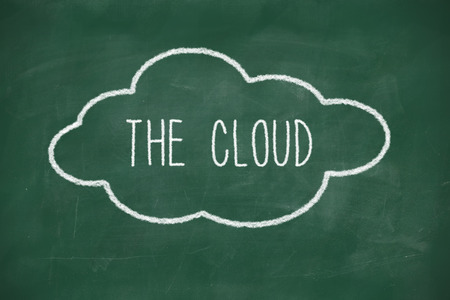 The cloud handwritten on school blackboard photo