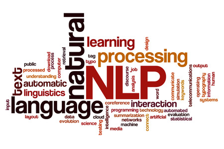 simulations: Natural language processing concept word cloud background