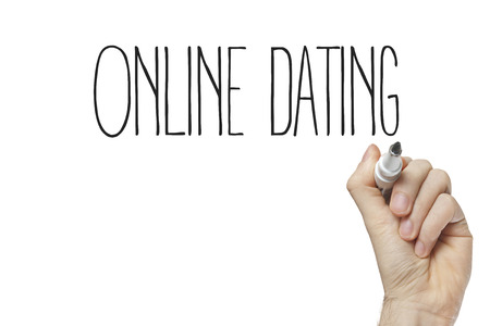 Hand writing online dating on a white board