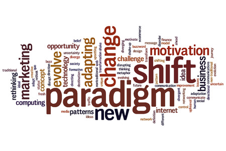 disrupting: Paradigm shift concept word cloud background  Stock Photo