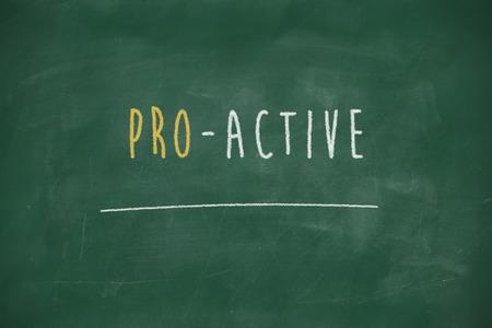 potent: Proactive handwritten on school blackboard