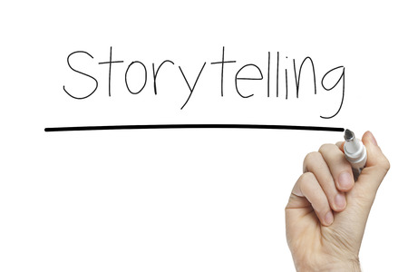 narration: Hand writing storytelling on a white board
