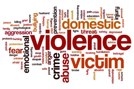 abusive man: Violence concept word cloud background Stock Photo