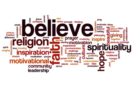 christian community: Believe concept word cloud background Stock Photo