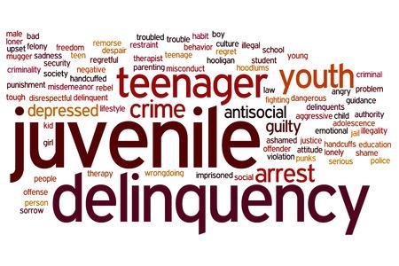 delincuencia: Concepto de delincuencia juvenil nube de palabras de fondo