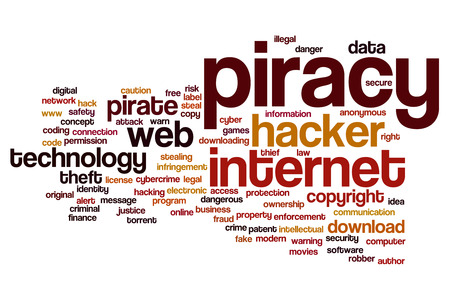 information technology law: Piracy concept word cloud background Stock Photo