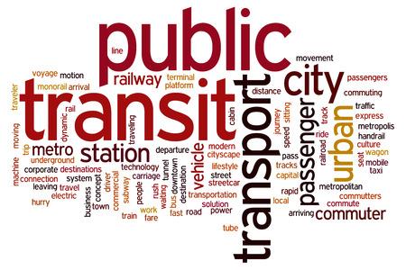 公共交通機関の概念単語雲背景 写真素材